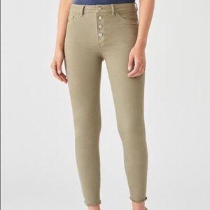 DL 1961 Farrow Hi Waist Crop Skinny Jeans Seagrass